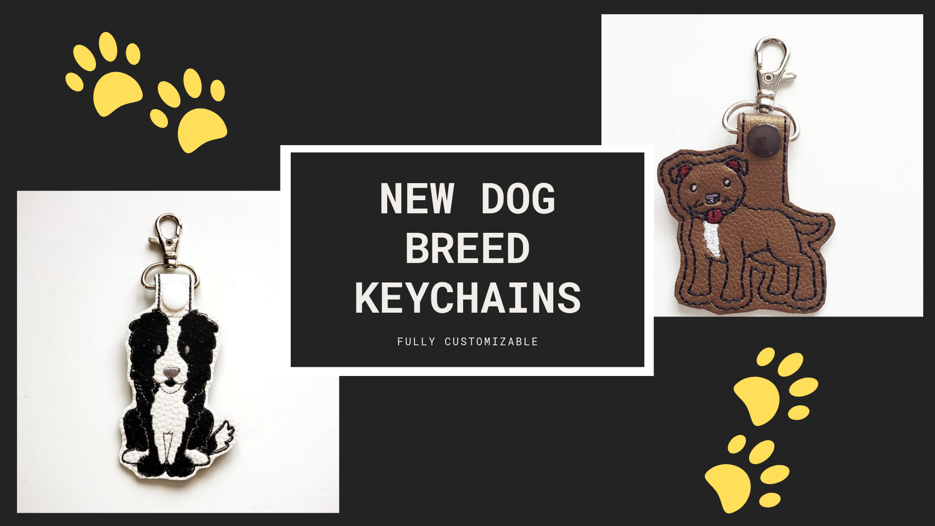 Pit Bull and Border Collie Keychains