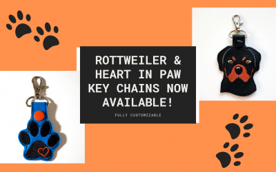 NEW: Rottweiler and Heart in Paw Key Chains