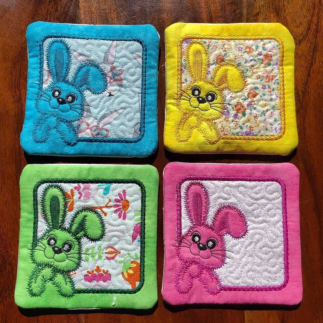 Embroidered Easter Spring Coaster Set